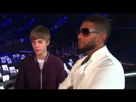 Justin Bieber with Usher & Jaden - Backstage at Grammy 2011