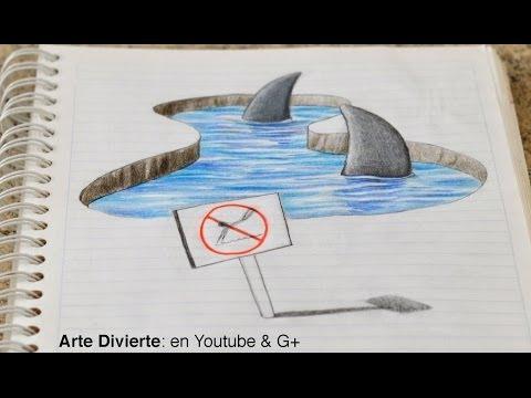 ¡Dibujando tiburones 3D en mi cuaderno Dibujo anamórfico