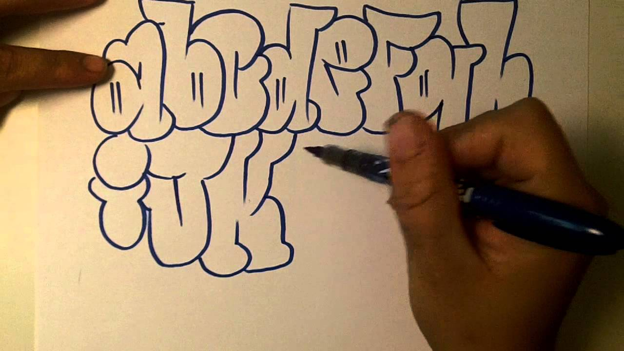 How2art how to draw graffiti alphabet throwies youtube - Graffiti alphabet bubble ...