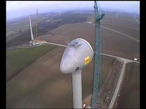 World's Biggest Wind Turbine: Enercon E-126, FPV RC 3D Heli Building Construction Potzneusiedl Crane