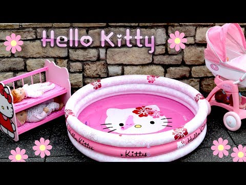 Hello Kitty Dolls Stroller Pram Bunkbed & Swimming Pool Nursery Center Baby Born Baby Annabell