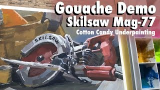 Gouache Painting Demo: Skilsaw Mag 77 | Cotton-Candy Underpainting