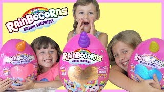 Ava Isla and Olivia Check Out NEW RAINBOWCORNS Surprise Eggs by ZURU FUN TOYS with Fun Family Three