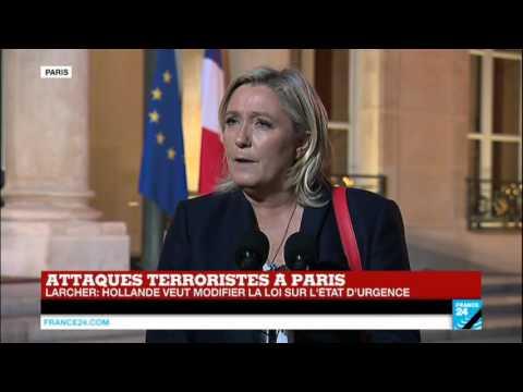 Attentats de Paris : Intervention de Marine Le Pen suite à son entretien avec François Hollande