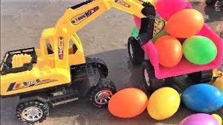 Ô Tô Cần Cẩu, Máy Xúc Đất Làm Việc | Vehicles Toys For Kids