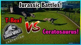 Jurassic World Battles!! -=- TYRANNOSAURUS REX V.S CERATOSAURUS! - Fight To The Death!