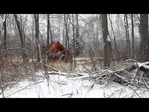 Mor-Bell Logger Feller Buncher in Ontario (HD)