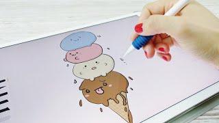 Drawing Ice Cream - Kawaii Doodle on iPad   Apple Pencil