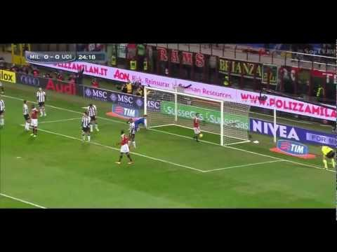 Mario Balotelli's first goal for AC Milan vs Udinese 1-0