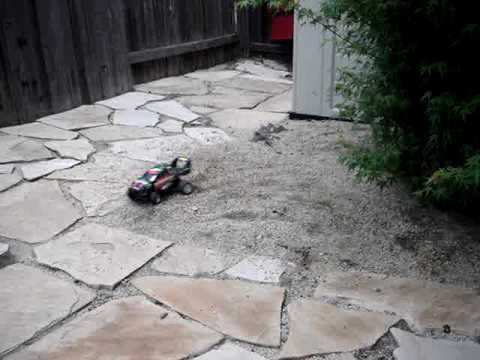 Tyco R/C 9.6V Turbo Eliminator doing donuts in gravel!