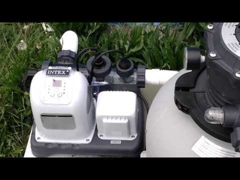 Intex 1600 gph sand filter and salt-water filtration system in operation