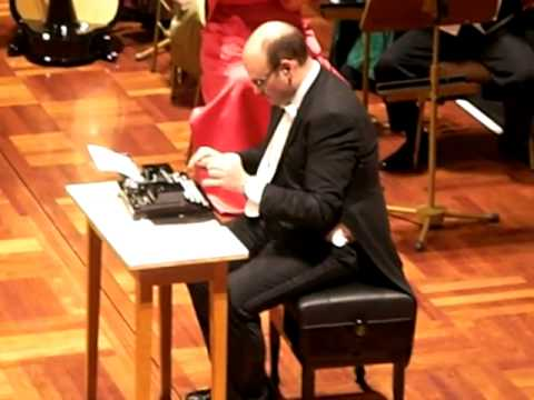 "Viennese Percussionist Martin Breinschmid with his version of the ""Typewriter"" Live at the BASF concert hall Ludwigshafen,Germany 2008,Strauß Festival Orchestra Vienna"