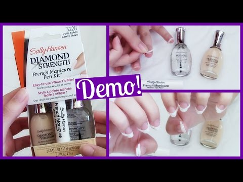 Sally Hansen Diamond Strength French Manicure Pen Kit Demo & First Impression!
