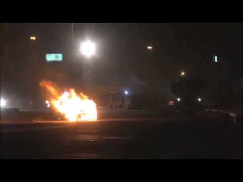 Bahrain : Riot Police Armoured Vehicle Fire Tear Gases Heavily During Clashes