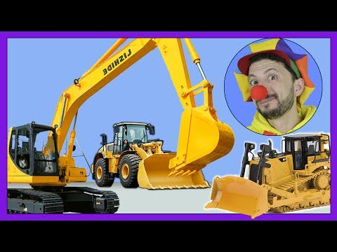 Today we will have funny video for kids with Clown Bob helping you to learn Construction Vehicles Bulldozer, Excavator, Tractor, Truck, Road roller, fork lift, concrete mixer and cranes. Funny...