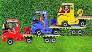 Niki ride on tow truck and play selling toy cars for kids
