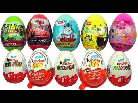 10 Surprise Eggs Kinder Surprise Kinder Joy Disney Pixar Cars 2 Spongebob