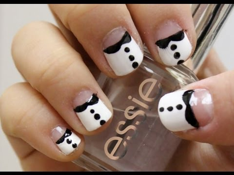 peter pan collar/tuxedo nail art for short nail  easy