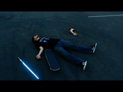 JEDI SKATEBOARDER EPIC LIGHTSABER FAIL