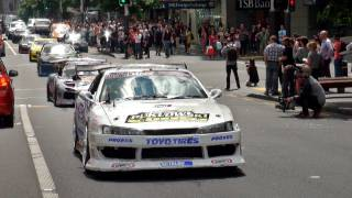 D1NZ Drift Cars Invade Queen Street, Auckland City - New Zealand 2012