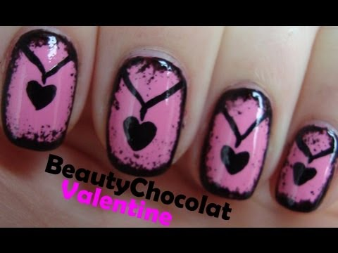 Cute Valentine Nail Art - Heart Necklace Nails