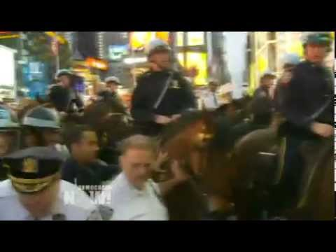 NYPD Dangerously Uses Horses to Control Crowd at Occupy Wall Street in Times Square (Video)