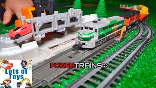 Load the Train Cars!!! Mighty Machines Power Trains Auto Loader City Forklift, Cars, Excavator