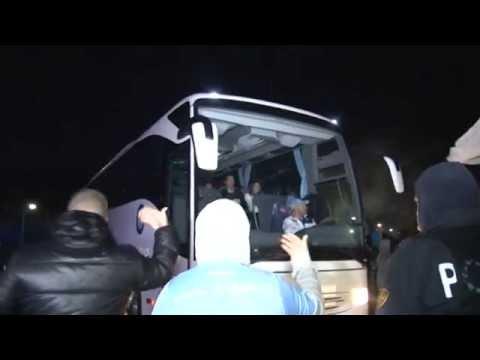 Napoli - Il Napoli vince la Coppa Italia, 3-1 alla Fiorentina - il bus (03.05.14)