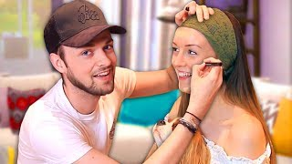 BOYFRIEND DOES MY MAKEUP! - Clare & Ali! 😱
