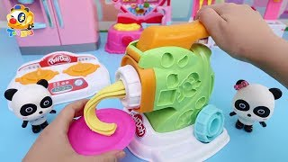 Baby Panda's Magical Noodle Machine | Kids Kitchen Toys | Baby Doll Play | ToyBus