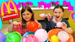 MAKING SLIME WITH BALLOONS IN McDONALD'S! OMG! 😂 ~ Making Balloon Slime in Public Challenge!