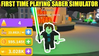 FIRST TIME PLAYING SABER SIMULATOR Roblox