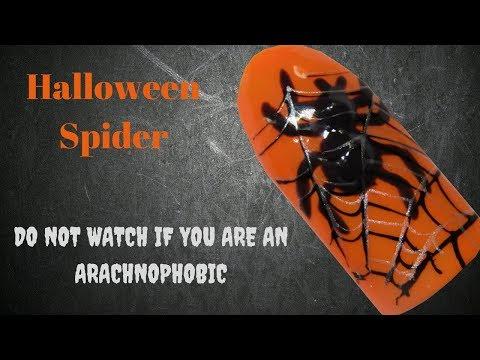 Halloween Spider Nail Design - Arachnophobes Beware!