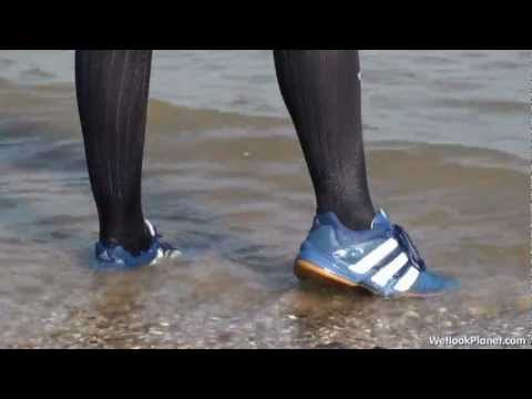 Valerie showing off her wet Adidas sneakers
