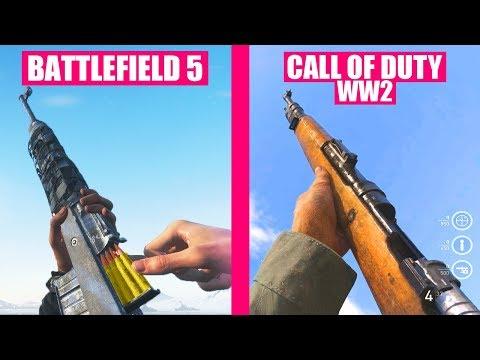 BATTLEFIELD 5 Guns Reload Animations vs Call of Duty WW2