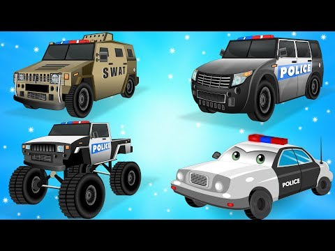 Police Car for Children - Kids Truck Videos - Police Vehicles for kids w Cars Garage