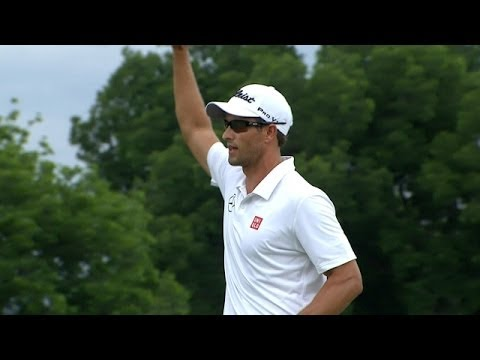In the final round of the 2014 Crowne Plaza Invitational, Adam Scott holes a 7-foot putt for birdie on the par-4 18th to claim his 11th win on the PGA TOUR. Subscribe to the channel http://pgat.u...