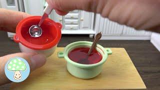 Miniature strawberry jam slime making in Miniature Kitchen !