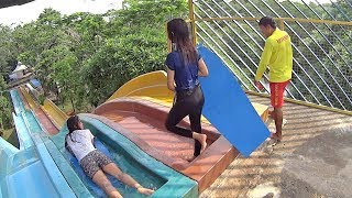 Indonesian Ladies on the Racer Slide at Water Kingdom Mekarsari