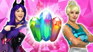 ELSA AND MALFICENT'S MAGIC CRYSTALS. And Disney Princesses Ariel, Belle, Jasmine and Anna.