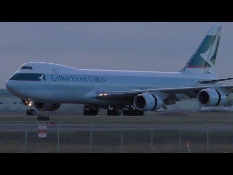 Cathay Pacific Cargo 747-867F [B-LJB] INAUGURAL Landing in Calgary ᴴᴰ