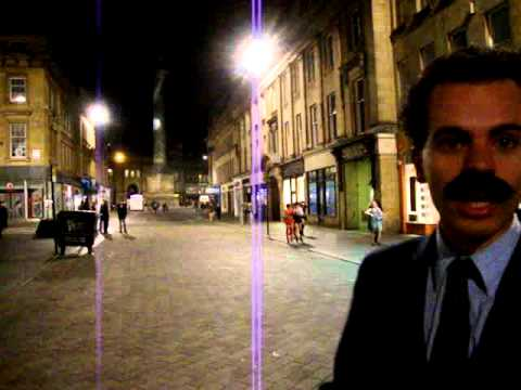 Borat is attacked by drunken locals in Newcastle.