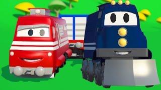 Xe biến đổi Carl và Xe Lửa ở thành phố xe |  Phim hoạt xe xe tải xây dựng dành cho thiếu nhi