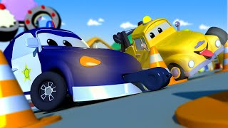 The Poilce Car with the Baby Cars in Car City ! - Cartoon for kids TRAFFIC Cop