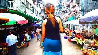 A walk through Chinatown in Yangon, Myanmar.