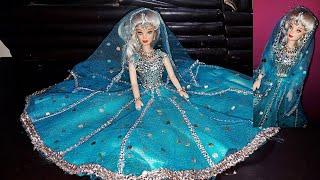 Barbie Anarkali lehenga | Traditional Muslim bride doll |American barbie in indain look /jewellery