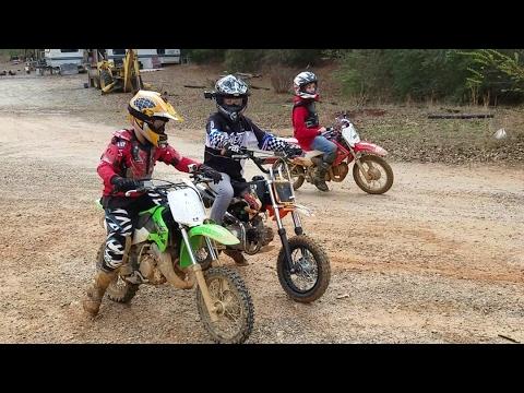 Kids riding Dirt bikes, drag racing, and big jumps at High Fall MX