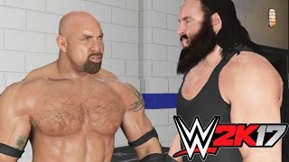WWE 2K17-Goldberg Return to RAW & Braun Strowman try attack him from behind at Backstage Brawl