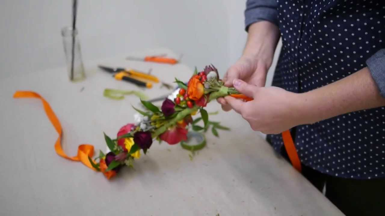 How To Make A Beautiful Flower Crown Real Flowers YouTube
