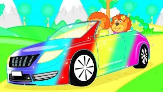 Lion Family Rainbow Car Cartoon for Kids